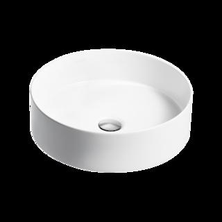 Mica Round Slim Basin - White