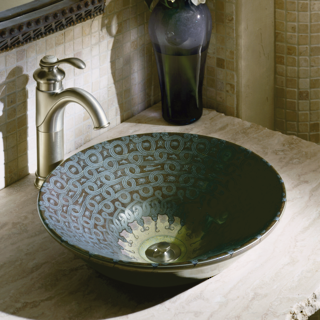 Serpentine Bronze on Conical Bell Vessel Basin